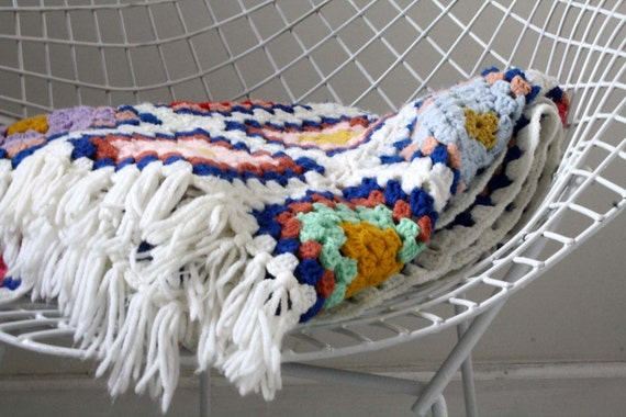 vintage. crochet. white granny square. blanket. throw. afghan. rainbow. colorful. bright.