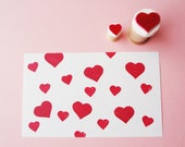 heart set - hand carved rubber stamp