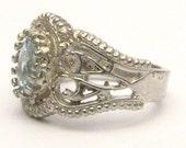 Handmade Sterling Silver Filigree Crown Aquamarine Ring