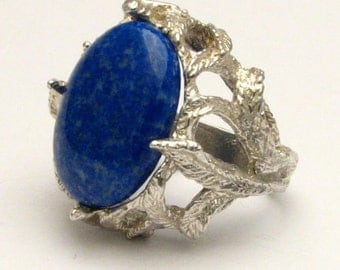 Handmade Sterling Silver Blue Lapis Cab Gemstone Ring