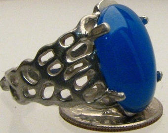 Handmade Sterling Silver Blue Onyx Lava Ring
