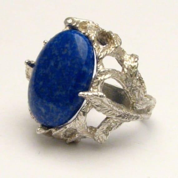 Handmade Sterling Silver Blue Lapis Cab Gemstone Ring