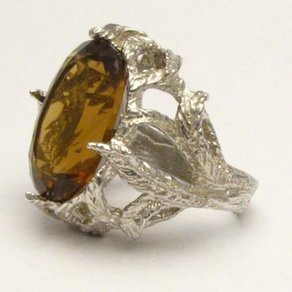 Handmade Sterling Silver Faceted Whiskey Quartz Ring