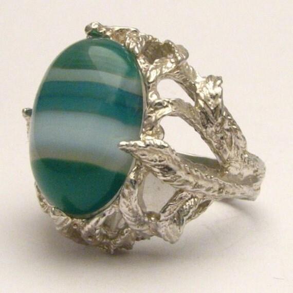 Handmade Solid Sterling Silver Green/White Sardonyx Cab Ring