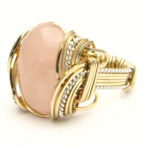 Handmade Wire Wrapped Vintage Two Tone Sterling Silver/14kt Gold Filled Rose Quartz Ring