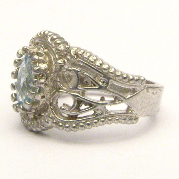 Handmade Sterling Silver Filigree Crown Aquamarine Gemstone Ring