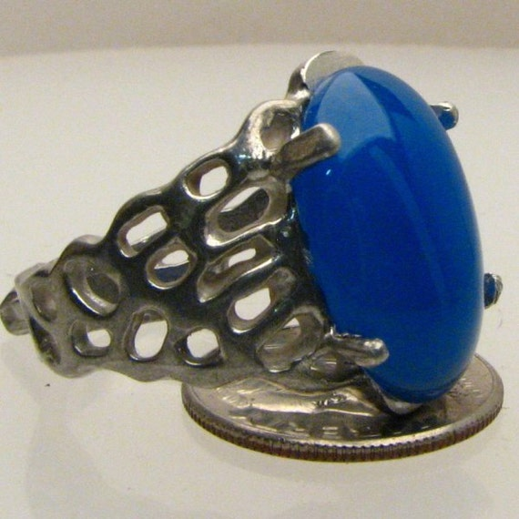 Handmade Sterling Silver Blue Onyx Lava Ring