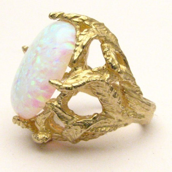 Handmade 14kt Gold Man Made White Opal Claw Cabochon Ring