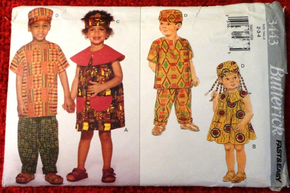Butterick 3443 Childrens African Style Sewing Pattern