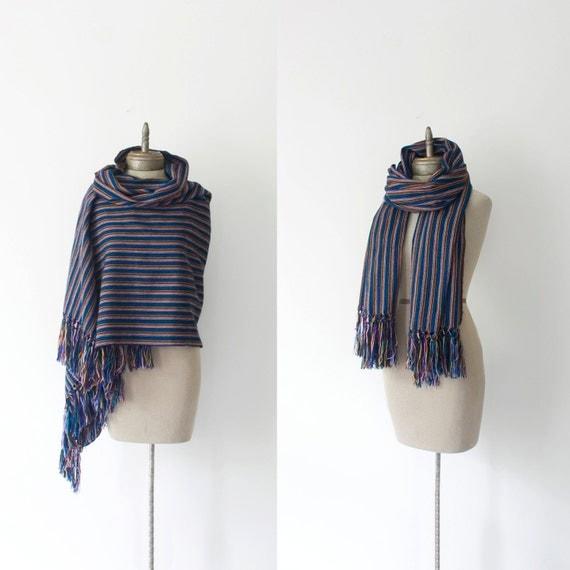 serape VINTAGE ethnic hand woven fringe shawl