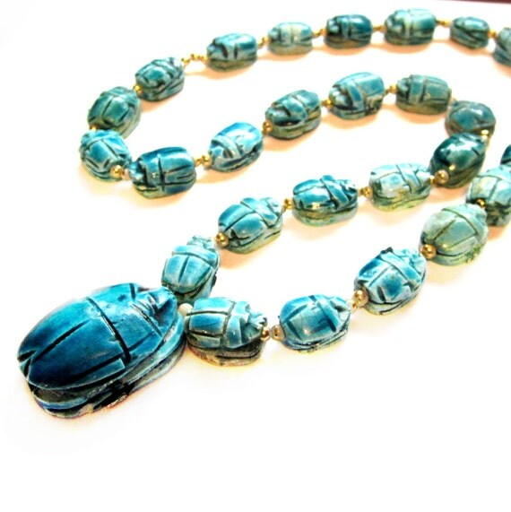 Vintage Scarab Stone Necklace, Blue Ceramic Beetle, Costume Jewelry