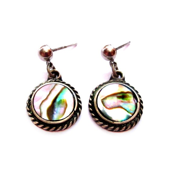 alpaca mexico earrings vintage abalone earrings mexican alpaca silver pierced 5135