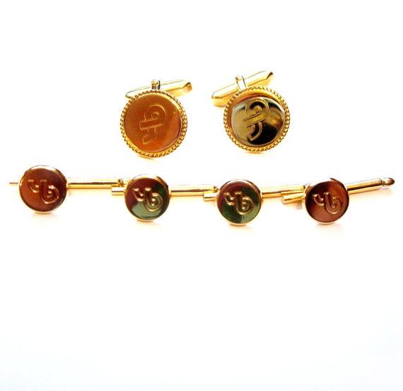 Vintage Cuff Links / Shirt Stud Set, Gold Metal, Ribbon Design