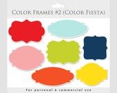Color frames clipart - elegant frames, ornate flourish frames, digital frames collage and scrapbooking for commercial use