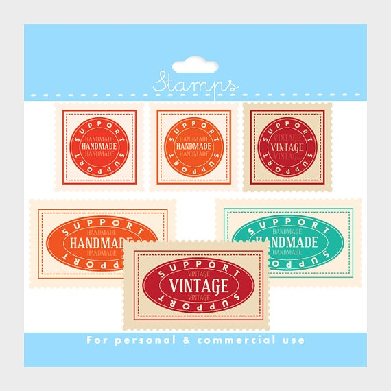 "Stamps clipart - ""support handmade"" and ""support vintage"" stamps clip art for personal and commercial use"