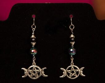 Triple Moon Peacock Crystal Swarovski and Sterling Silver Earrings