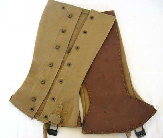 Pr Antique Khaki Green Canvas and Leather High Button Gaiters Leggings Spats, WW I, Men or Women