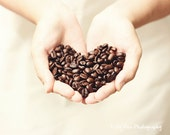 Coffee Bean Photograph Photo - Heart, love, cafe, kitchen decor, espresso, java, gift, brown - Heart of the Bean - 8 x 10 Fine Art Print