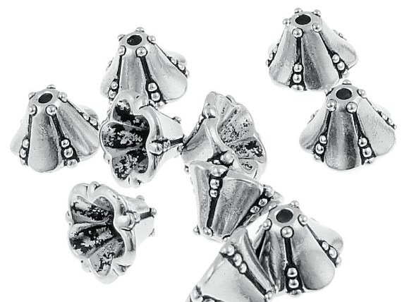 Antique Silver Bead Caps TierraCast Medium Bellflower Cone Bead Caps Silver Beadcaps for Jewelry Making Bell Flower Caps  (PC63)