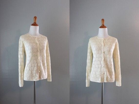 Crochet Cardigan / Vintage 1960s White Crochet Sweater / Vintage Cardigan