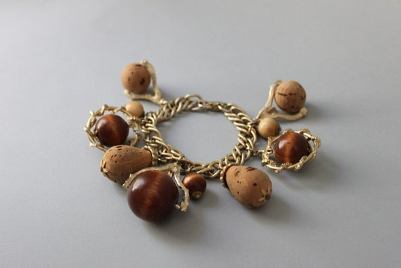 Vintage Charm Bracelet / 1960s Chunky Charm Bracelet / Vintage Jewelry