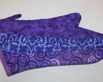 Oven Mitt Purple Cotton Patchwork