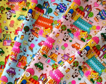 Half Yard Japanese Cotton Fabric Retro Panda Tokimeki Friends Fantasyland City Neon 4 colors to choose