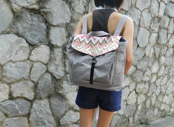Back To School Sale - Tanya in Light grey // Backpack / Satchel / Rucksack / Messenger / Laptop / Tote / Women/ For Her / For Him
