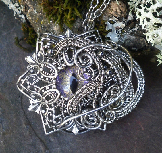 SOLD Gothic Steampunk Evil Eye Pendant With Color Shifting Glass