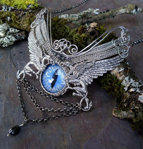 SOLD Gothic Steampunk Griffin Dragon Cat Evil Eye Necklace with Wings