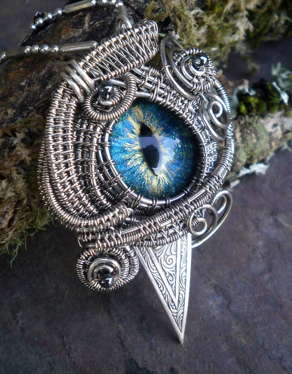 SOLD Gothic Steampunk Evil Cat Eye Pendant with Turquoise Blue Eye