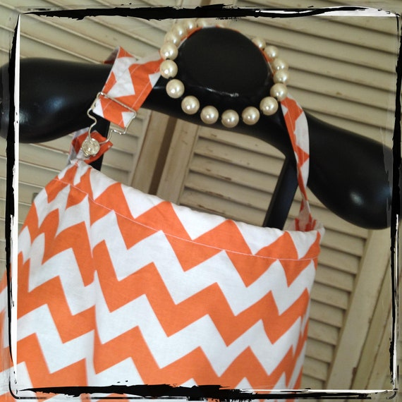 Nursing Cover - Orange Chevron  HideAway Nursing Cover Up with OVERALL BUCKLE