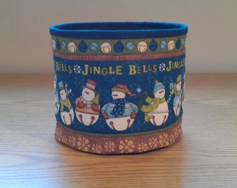 Quilted Fabric Bowl - Jingle bell Snowmen (XbowlP)