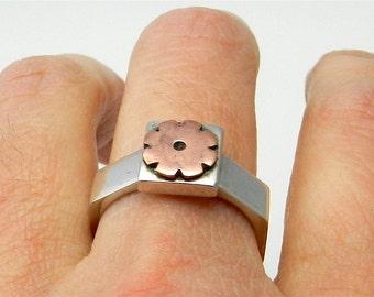 Sterling Silver Ring Flower Copper