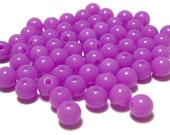 6mm Smooth Round Acrylic Beads in Orchid 100pcs