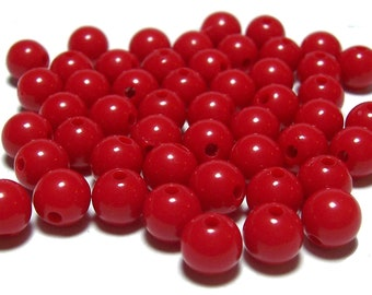 8mm Smooth Round Acrylic Beads in Red 50 beads