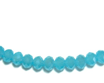 4x6mm Chinese faceted glass crystal beads in Milky Blue 30pcs