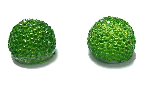 14mm flatback ball cabochon resin rhinestone half bead in Peridot green 2pcs
