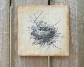 Encaustic Painting Birds Nest Baby Birds Wood Block Print Primitive Rustic