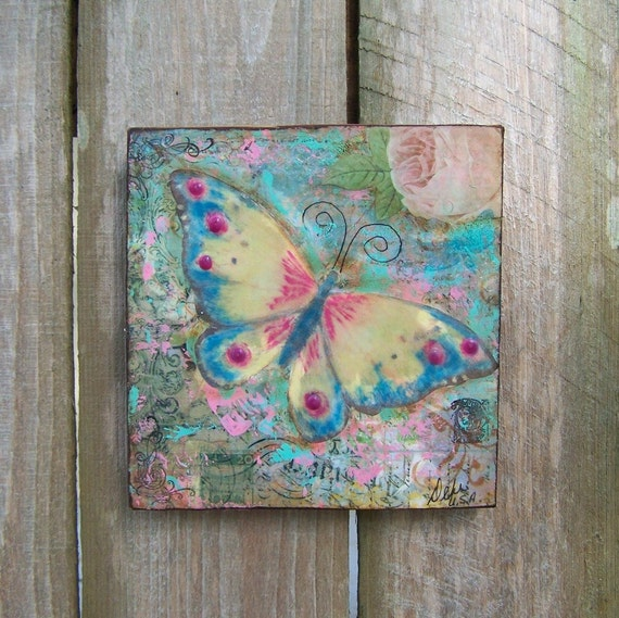 Encaustic Butterfly and Rose Original Mixed Media Painting Free Shipping