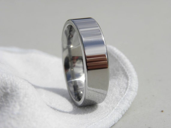 Titanium Ring or Wedding Band, Polished Ring, Flat Profile