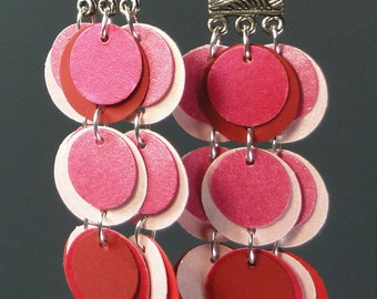 Pink and Red Paper Earrings