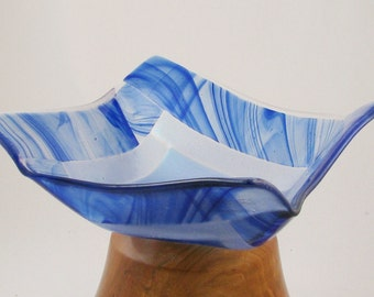 Fused glass dish - royal blue and pale blue - Origami bowl - blue glass bowl  (2434)