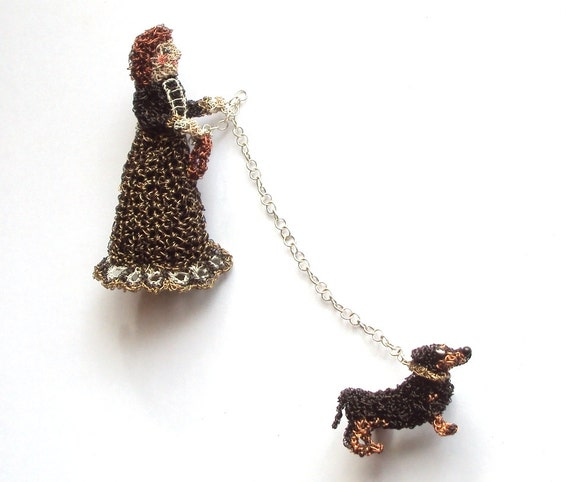 Animal brooch, lady walking her Dachshund dog unusual double brooch pin
