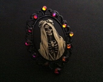 "Black filigree Santa Muerte  ring with ""volcano"" rhinestones"