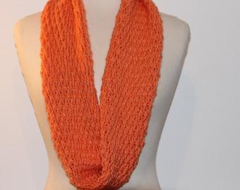 Crochet Circle Scarf Infinity Scarf Orange Tangerine