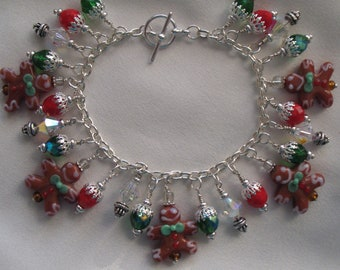 The Gingerbread Man Lampwork Charm Bracelet
