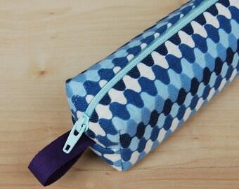 Geo Blue Skinny Mini CA Roll (pencil or makeup case)