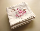 RESERVED -- set of seven vintage embroidered kittens cotton feedsack towels