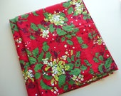 holly leaves on red christmas/holiday vintage large tablecloth